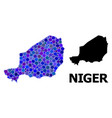 blue round dot mosaic map niger vector image