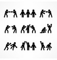 boxing stick figures on white vector image vector image