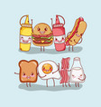breakfast and fast food cute burger hot dog bread vector image