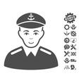 Captain Icon With Tools Bonus vector image vector image