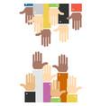 cartoon hands to hands concept banner flat design vector image vector image