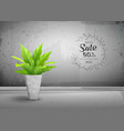 cement loft interior with tropical tree vector image vector image