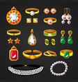 colorful jewelry accessories icons set vector image vector image