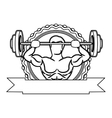 contour sticker frame with muscle man lifting a vector image vector image