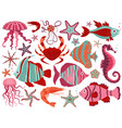 coral reef underwater animals set vector image vector image