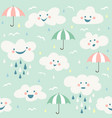 cute baby cloud pattern seamless vector image vector image