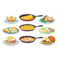 dishes from eggs set fresh nutritious breakfast vector image
