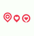 favourite places icon set liked places pin vector image