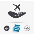 Flight insurance sign Hand holds plane vector image