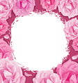 Frame of roses on a pink background vector image