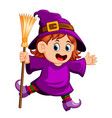 girl witch with a broom vector image vector image