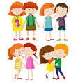 group of children on white background vector image vector image
