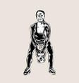 gym woman sport silhouette vector image