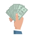 Hand with Money in Flat Design vector image