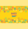 happy friendship day greeting card with party icon vector image vector image