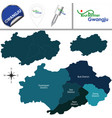 map of gwangju with districts south korea vector image vector image