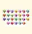multicolored alphabet or abc kid blocks latin vector image