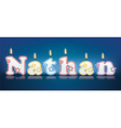 NATHAN written with burning candles vector image vector image