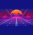 Night city road futuristic highway with neon