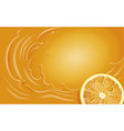 orange juice slice and orange splash vector image vector image