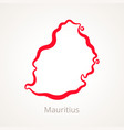 outline map of mauritius marked with red line vector image vector image