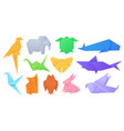 paper animals japanese origami folded toys birds vector image