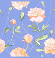 peony floral seamless pattern pink blue vector image