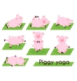 Pig yoga Cute pig in different yoga poses vector image