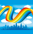 rainbow in the blue sky vector image vector image