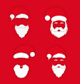 santa claus in hat on red background set vector image