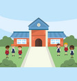 school with trees and happy children students vector image