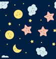 seamless pattern with cute clouds star and moons vector image vector image