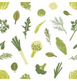 seamless pattern with green vegetables salad vector image vector image