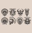 set black and white skulls in warriors helmets vector image
