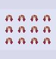 set emotional stickers head anime manga girl vector image vector image