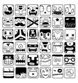 set of cartoon box face silhouettes vector image