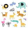set of cute jungle safari animals vector image