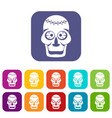 skull icons set flat vector image vector image