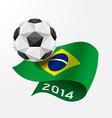 soccer ball geometric on flag brazil 2014 vector image