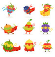 superhero fruits in masks and capes set of cute vector image vector image