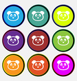 Teddy Bear icon sign Nine multi colored round vector image vector image