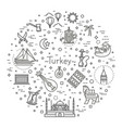 thin turkey symbol icon set vector image vector image