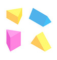 triangular prisms collection colorful figures set vector image vector image