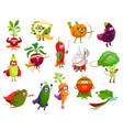 vegetables super heroes cartoon veggies set vector image vector image
