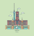 banner of berlin city in line trendy styletravel vector image