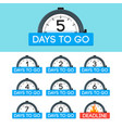 0 1 2 3 4 5 6 7 days to go badge set with alarm
