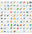 100 aeroplane icons set isometric 3d style vector image vector image