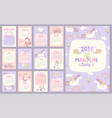 2019 magical time calendar with unicorns vector image vector image