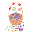 A Brown Basket of Chocolates and Lollipops vector image vector image