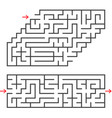 a set of two rectangular mazes with an entrance vector image vector image